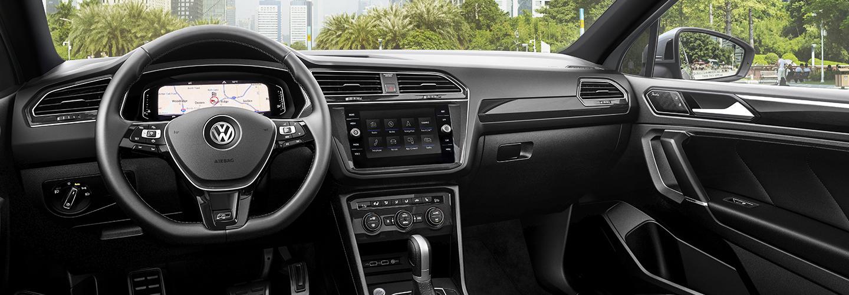 Steering wheel and passengers side seats of the 2020 Volkswagen Tiguan