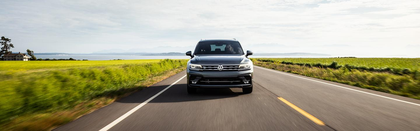 Front view of the 2020 Volkswagen Tiguan driving forward