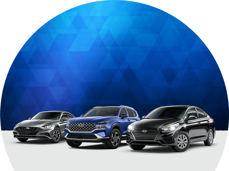 Three Hyundai models in a line