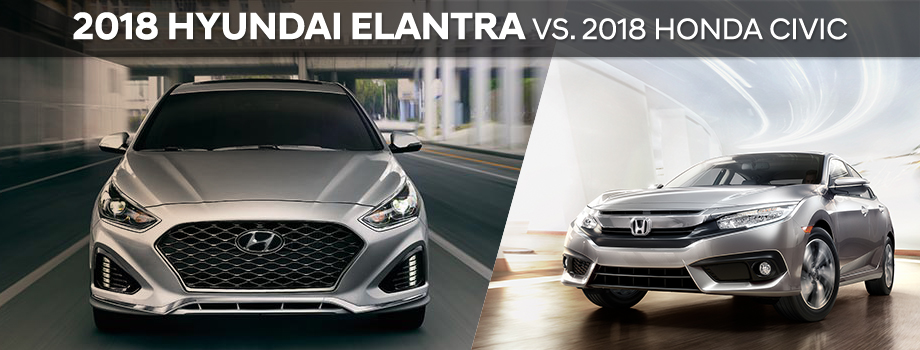 The 2018 Hyundai Elantra vs the Honda Civic at Lithia Hyundai of Reno in Reno, NV