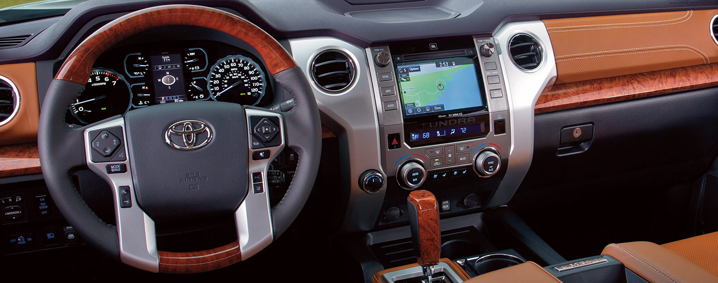 Picture of the interior of the 2019 Toyota Tundra for sale at our Toyota dealership in Lake City