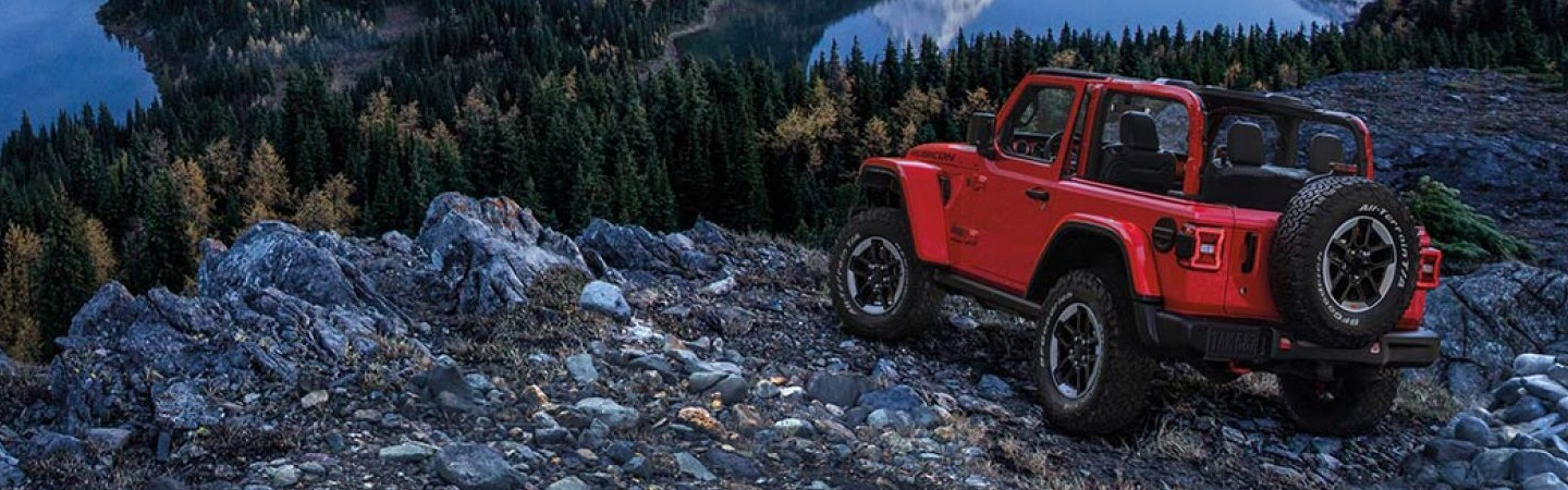 Picture of the 2020 Jeep Wrangler in the mountains
