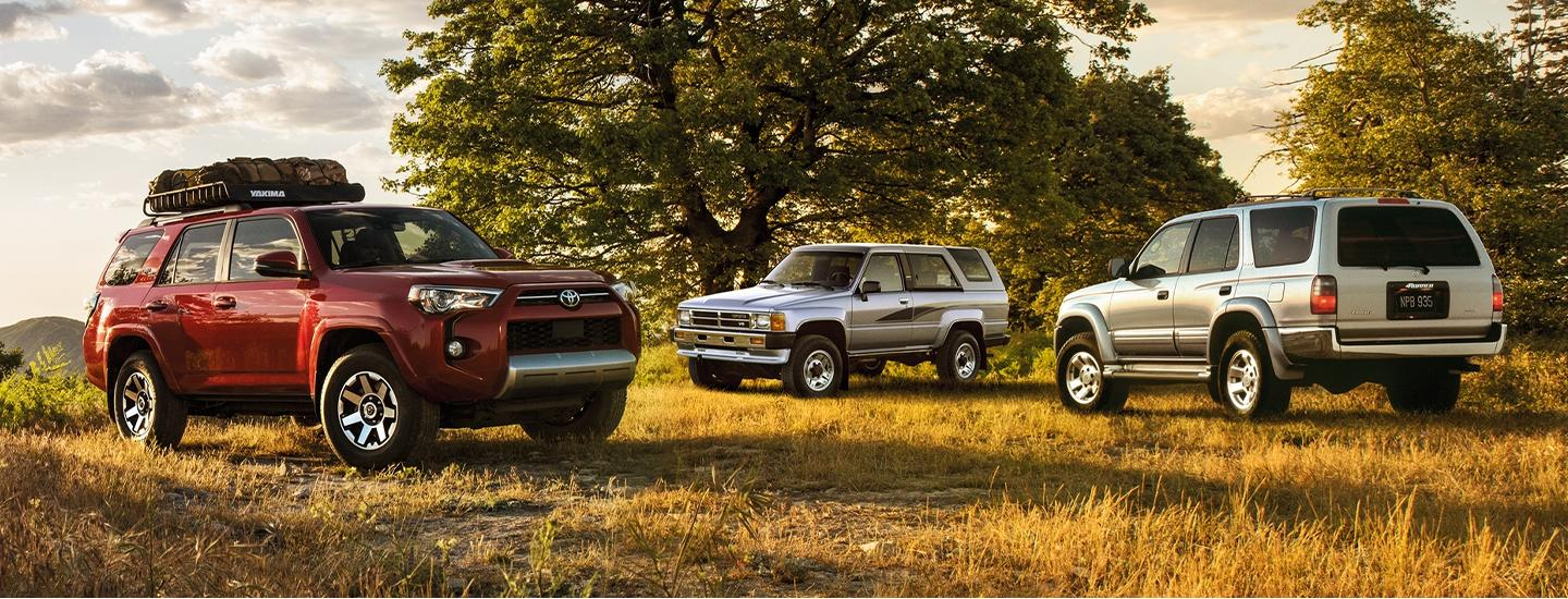 2020 Toyota 4Runner vehicles parked in a field of grass