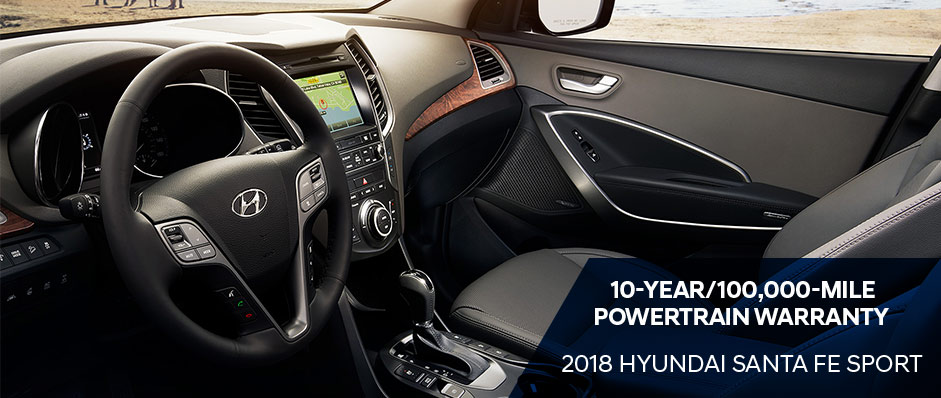 Safety features and interior of the 2018 Hyundai Santa Fe Sport - available at North Freeway Hyundai Spring TX near Houston and The Woodlands.