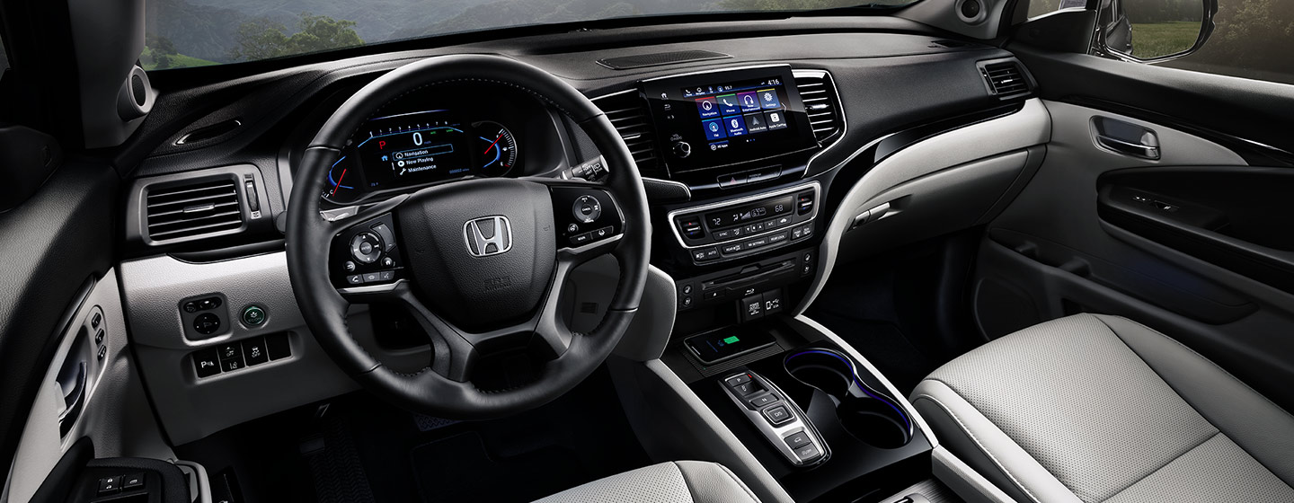 Safety features and interior of the 2019 Honda Pilot - available at our Honda dealership in Miami, FL