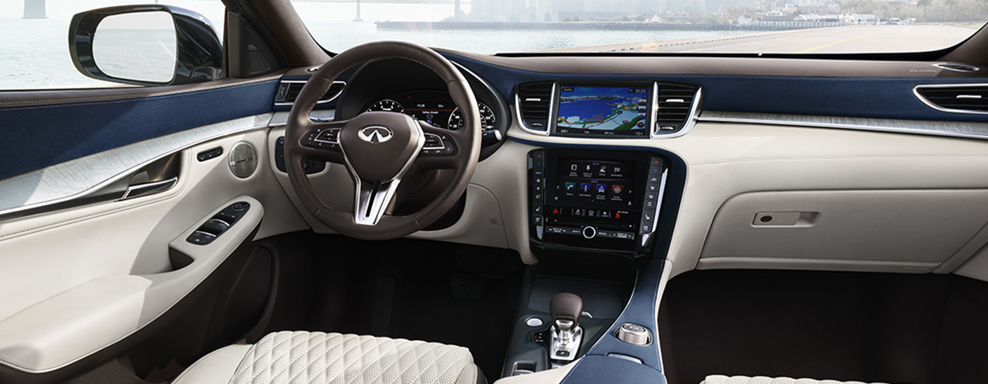 Safety features and interior of the 2019 INFINITI QX50 - available at our INFINITI dealership in Miami, FL.