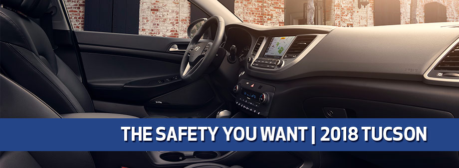 Safety features and interior of the 2018 Hyundai Tucson - available at Baytown Hyundai near Pasadena and Houston, TX
