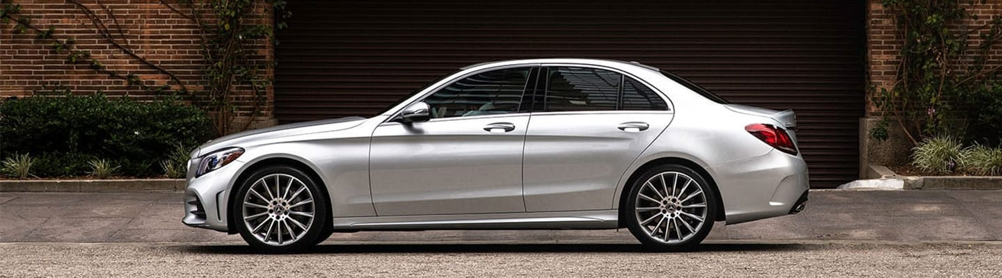 Driver side profile view of the 2020 C-Class