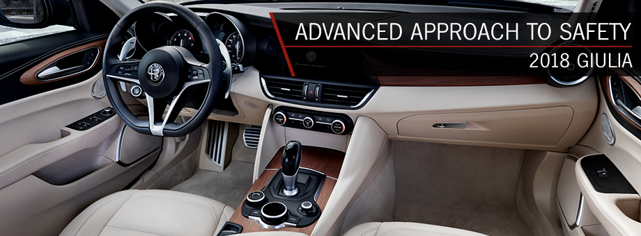 Safety features and interior of the 2018 Alfa Romeo Giulia - available at Alfa Romeo Hawaii near Kaka'ako and Honolulu, HI