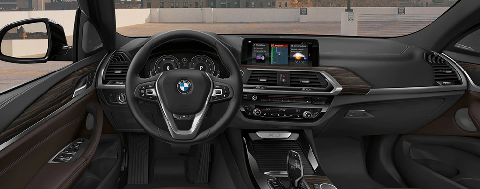 Interior of the 2019 BMW X3 at our BMW Dealership in Lafayette, IN.