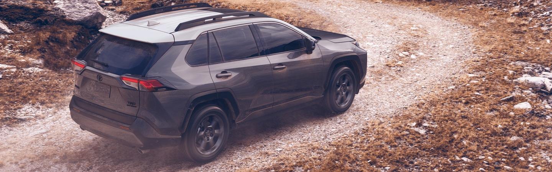 2020 Toyota RAV4 turning on a dirt road
