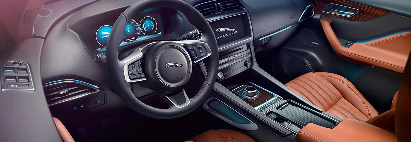 Drivers side interior perspective of the 202 0 Jaguar F-Pace