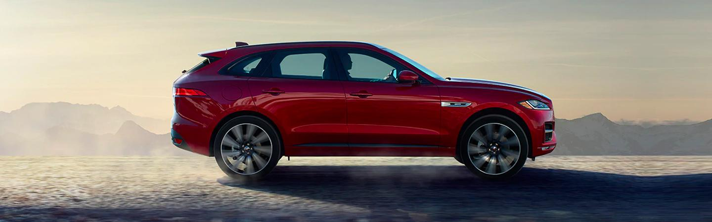 Side view of the 2020 Jaguar F-pace parked