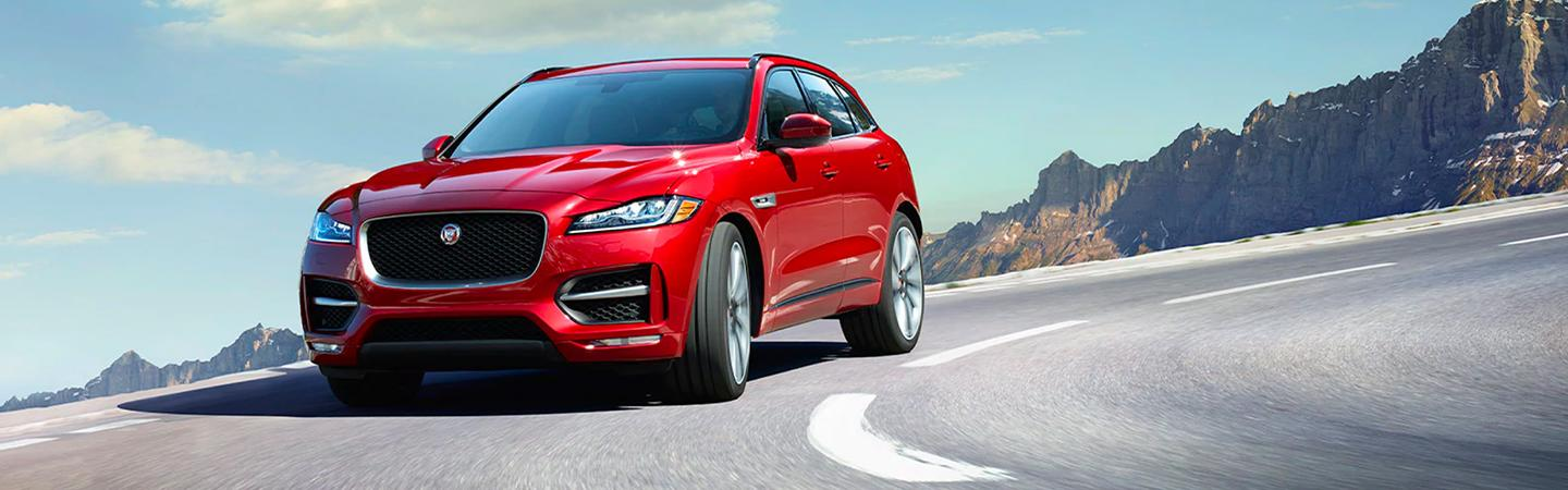 Front view of the 2020 Jaguar F-pace in motion