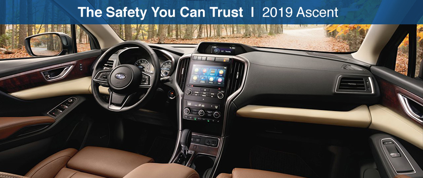 Safety features and interior of the 2019 Subaru Ascent - available at Bob Moore Subaru near Tulsa and Oklahoma City, OK