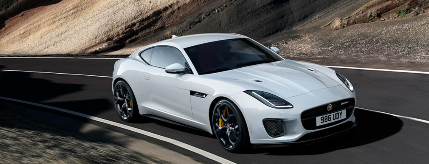 Top view of the2020 Jaguar F-Type driving