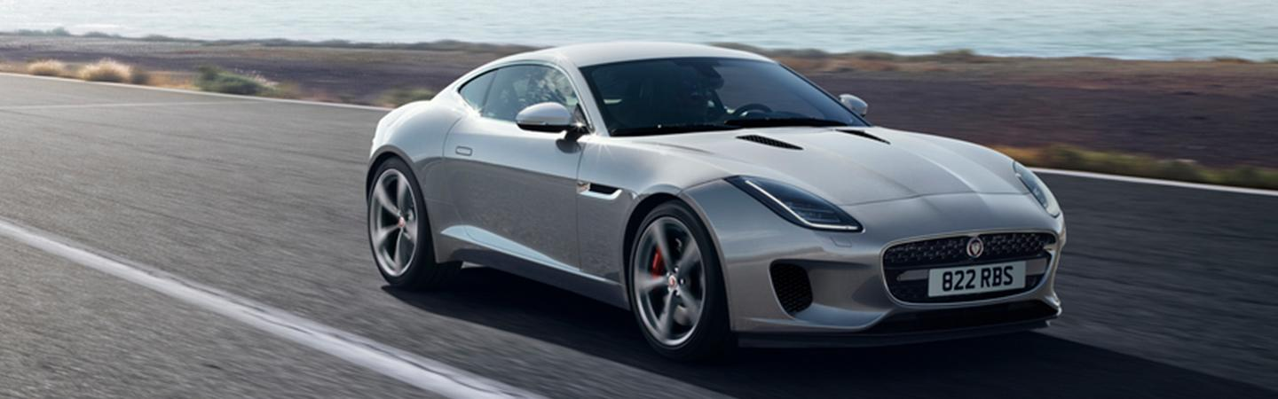 Front view of the 2020 Jaguar F-Type in motion