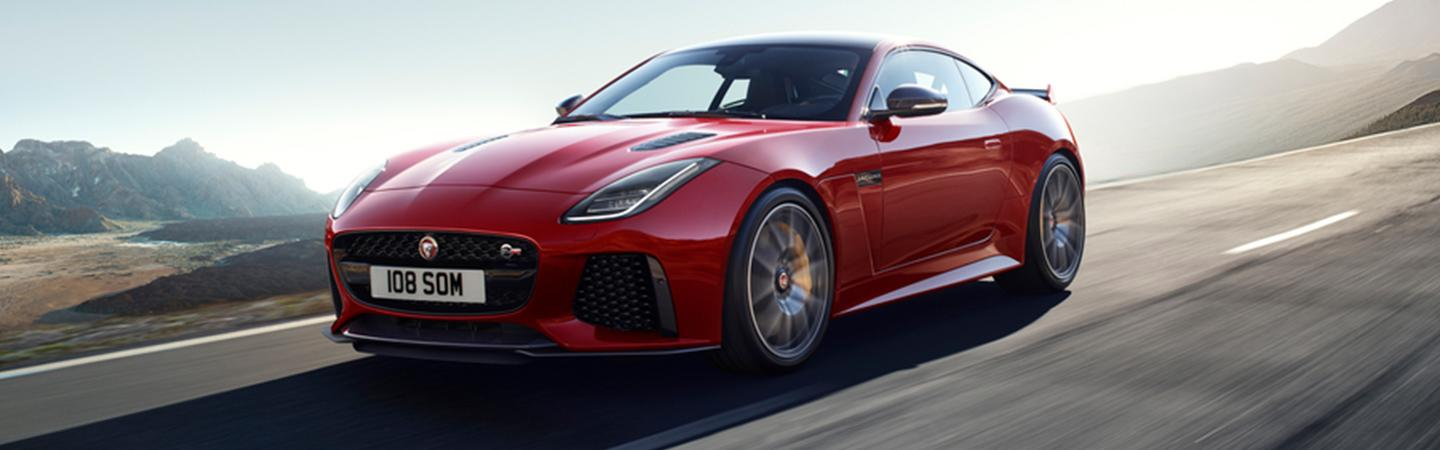Side view of the 2020 Jaguar F-Type in motion outside of Ocala, FL