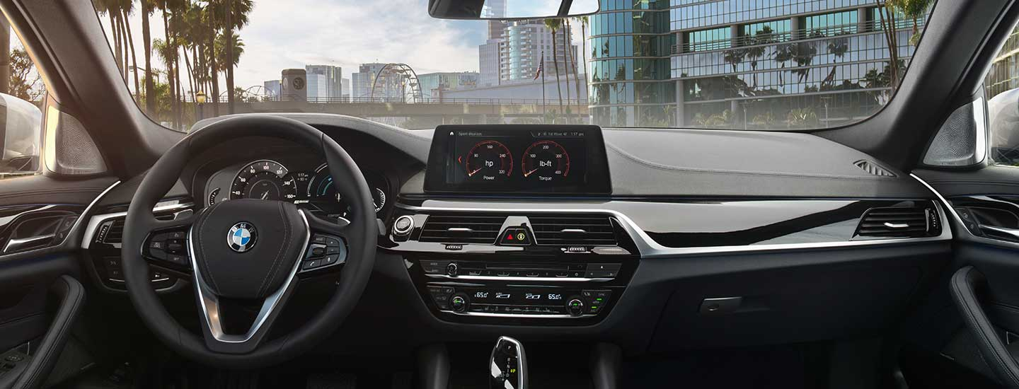 Safety features and interior of the 2019 BMW 5 Series - available at our BMW dealership in Columbia, SC.