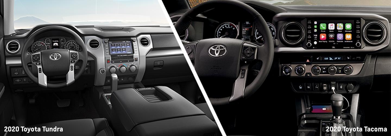 Interior of the 2020 Toyota Tacoma and 2020 Toyota Tundra