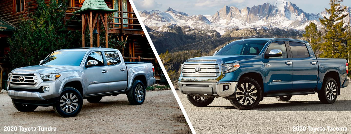 Split image of the 2020 Toyota Tacoma and 2020 Toyota Tundra