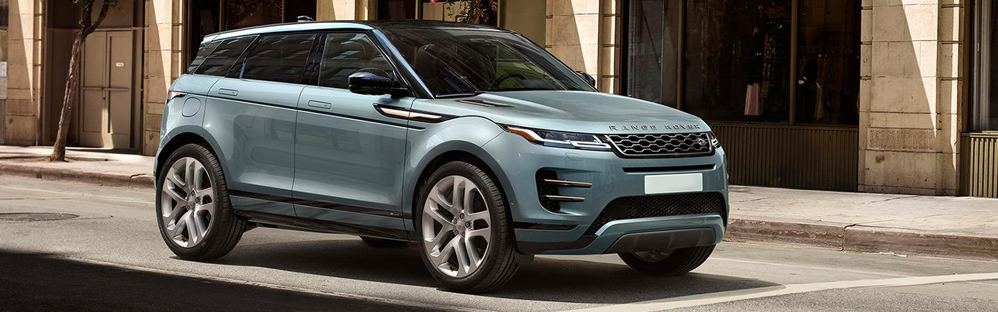 Front view of the 2020 Land Rover Range Rover Evoque stopped at a red light