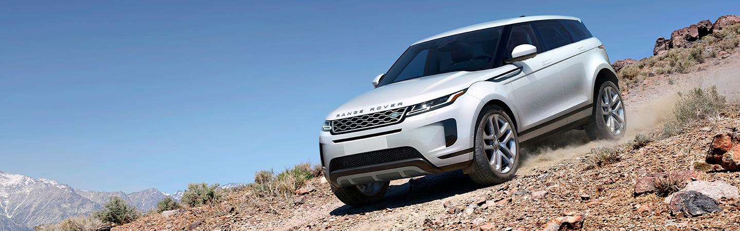 2020 Land Rover Range Rover Evoque driving down hill