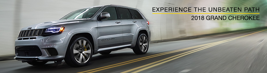 Exterior of the 2018 Jeep Grand Cherokee at Crown Chrysler Dodge Jeep Ram of Dublin near Columbus, OH