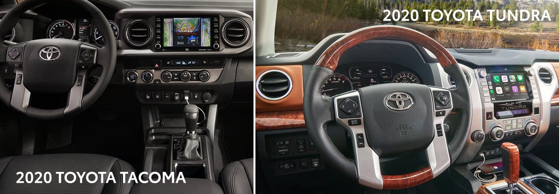 Split image of the 2020 Toyota Tacoma and the 2020 Toyota Tundra interiors