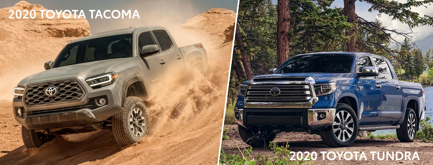 Split image of the 2020 Toyota Tacoma and the 2020 Toyota Tundra