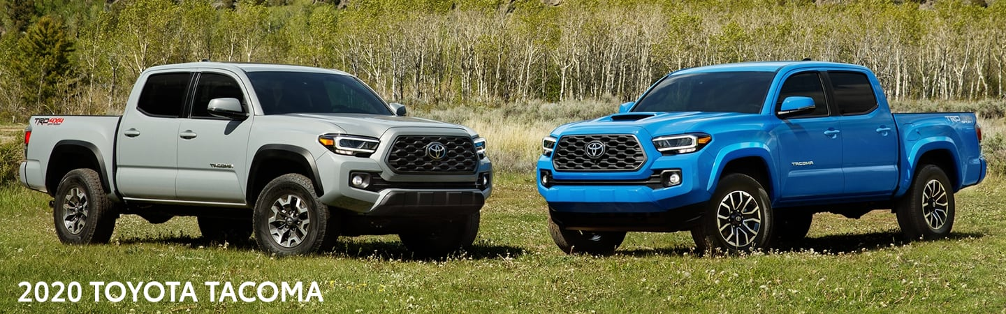2020 Toyota Tacoma vehicles parked in a field of grass