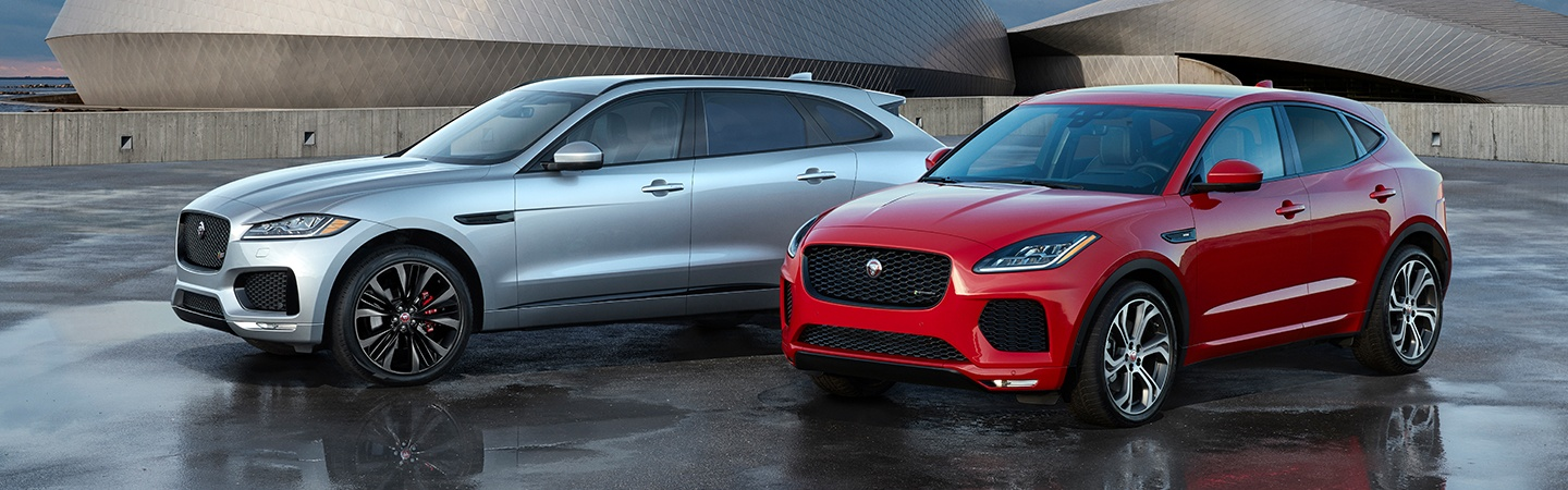 Two 2020 Jaguar E-Pace vehicles driving together