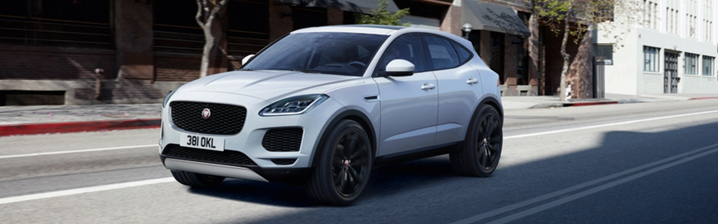 Front view of the 2020 Jaguar E-Pace in motion