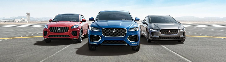 A few 2020 Jaguar E-Paces in motion outside of Jaguar Ocala