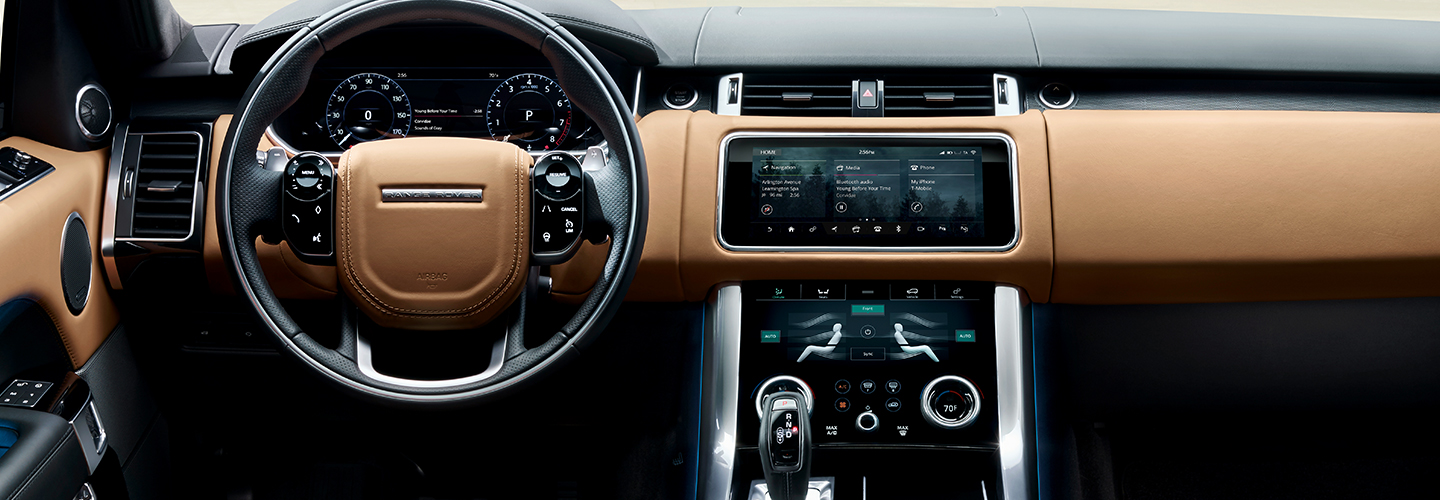Drivers side perspective of inside the 2020 Range Rover Sport outside of Ocala, FL