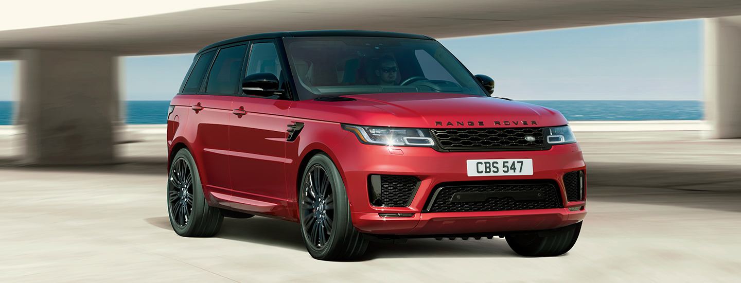 Front view of the 2020 Range Rover Sport parked outside