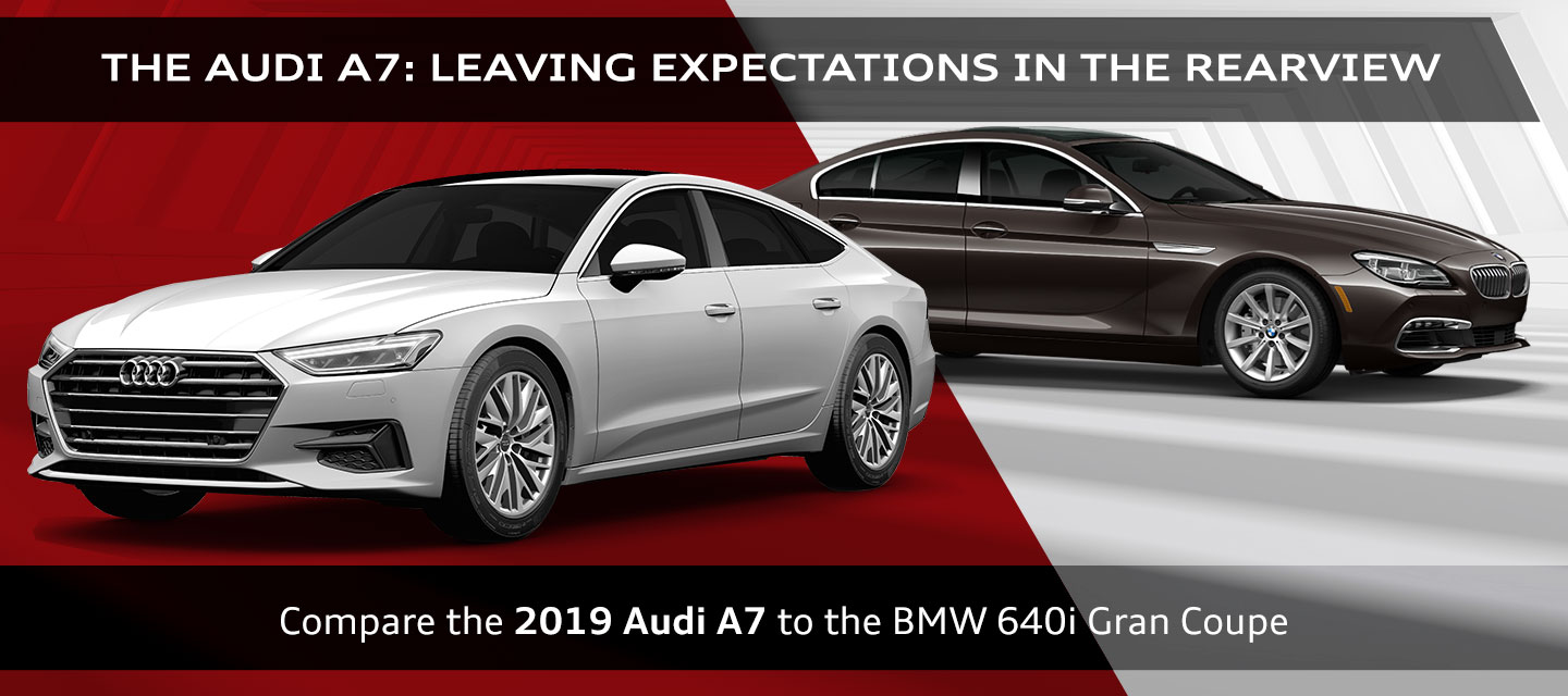 2019 Audi A7 versus BMW 640i Gran Coupe, Audi of Oklahoma City, Kingfisher, Piedmont, Okarache, Cashion, Guthrie, Stillwater, Midwest City, Choctaw, Shawnee, Moore, Norman and Chickahsa