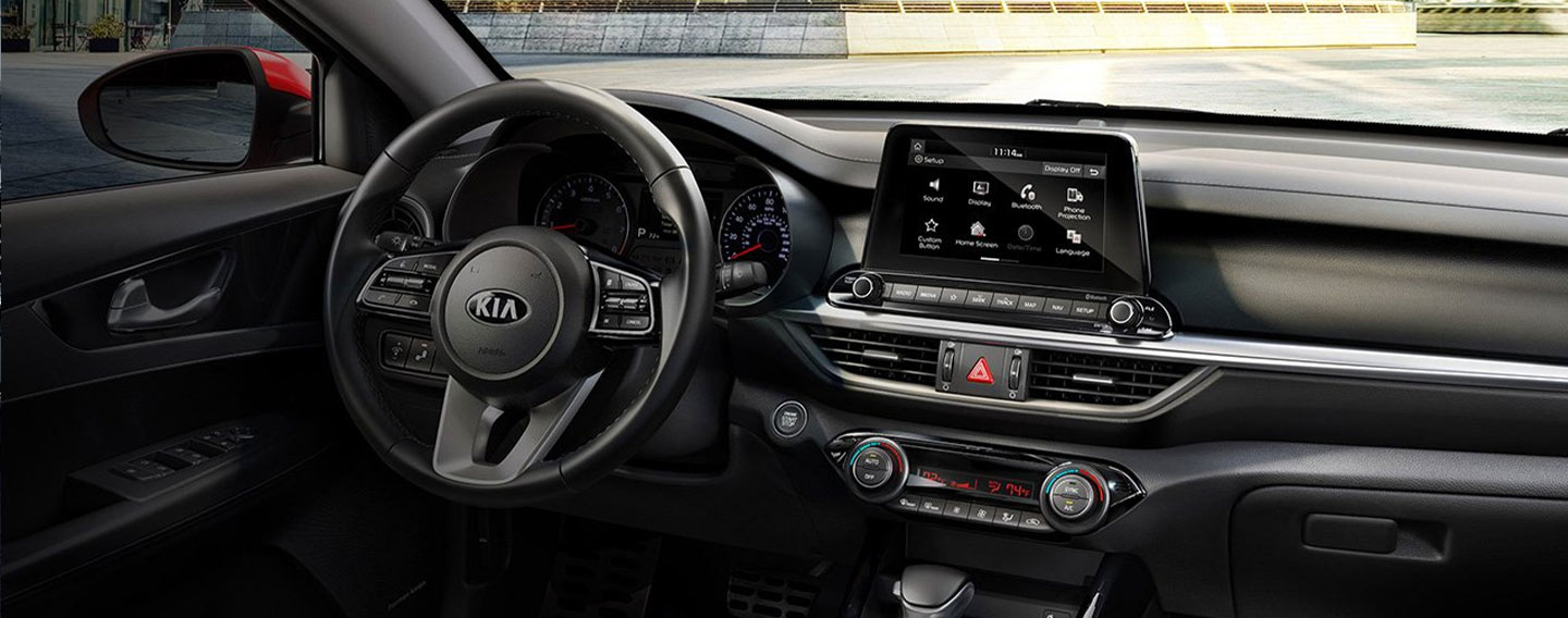 Safety features and interior of the 2019 Kia Forte - available at our Kia dealership near Norman, OK.