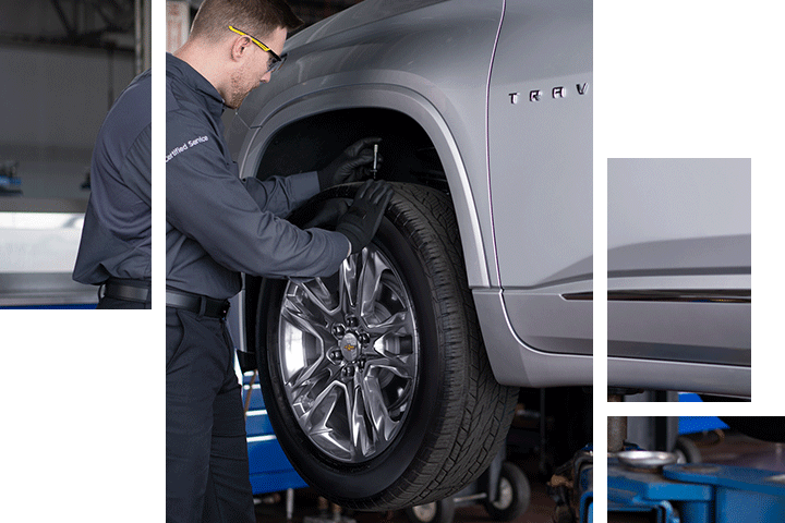 Tire repair and service at Spitzer Chevy dealership in Northfield Ohio