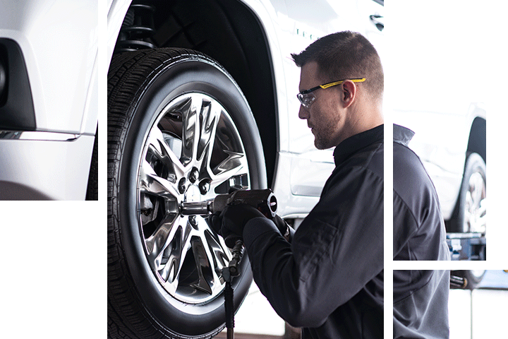 Wheel alignment at Spitzer Chevy dealership in Northfield Ohio