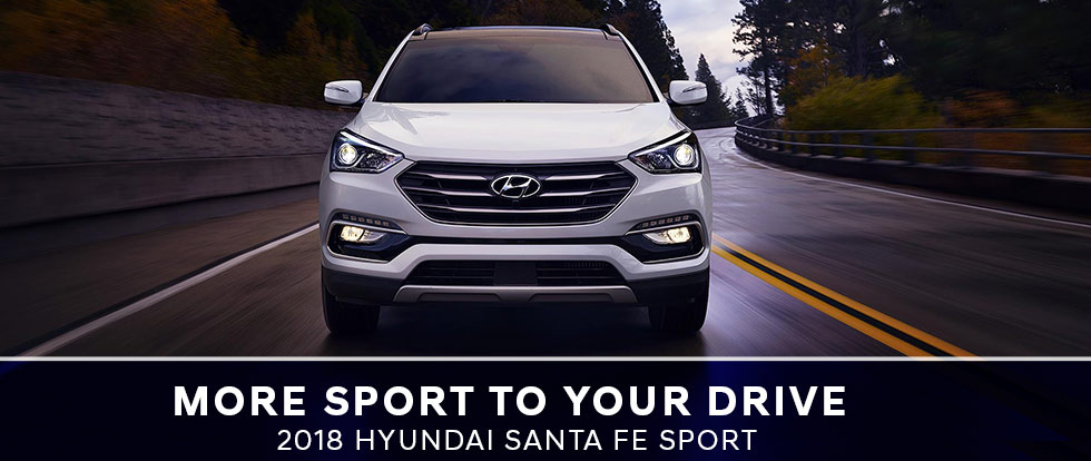 Exterior of the 2018 Hyundai Santa Fe Sport at Humble Hyundai near Houston TX