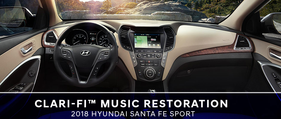 Safety features and interior of the 2018 Hyundai Santa Fe Sport - available at Humble Hyundai in Humble TX near Houston and Atascocita