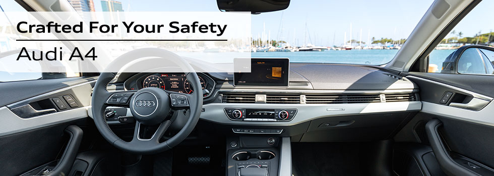 Safety features and interior of the 2018 Audi A4 - available at Audi Honolulu near Kaka'ako and Honolulu, HI