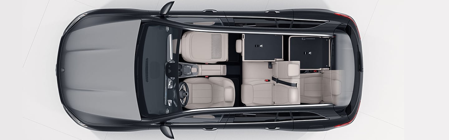 Aerial view of 2020 Mercedes-Benz GLB interior seating
