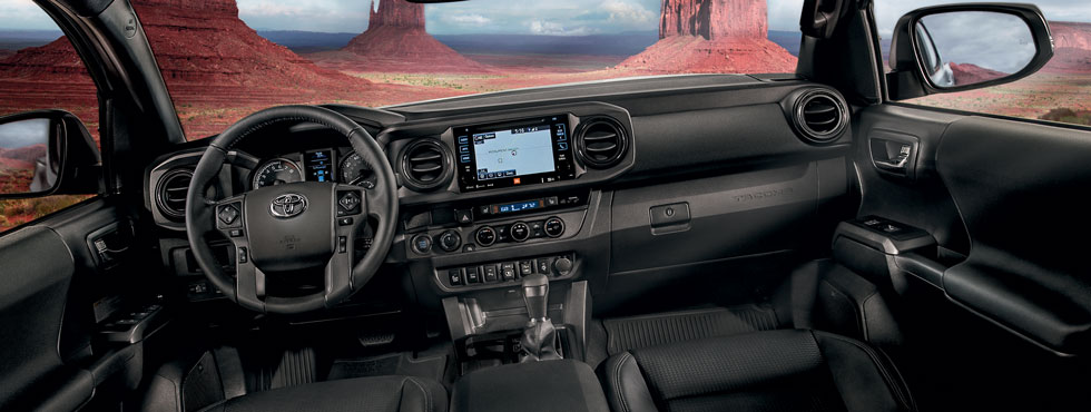 Safety features and interior of the Toyota Tacoma - available at our Lipton Toyota dealership near Pompano Beach & Hollywood FL