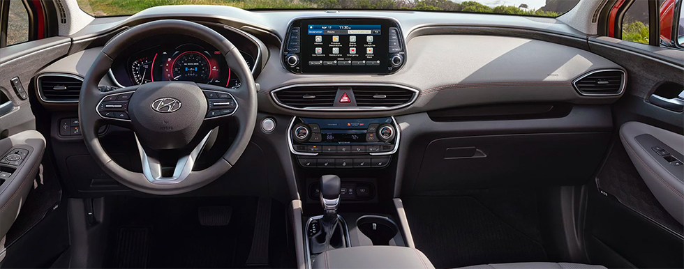 Tech features and interior of the 2019 Hyundai Santa Fe – for sale at our Hyundai dealership in Reno