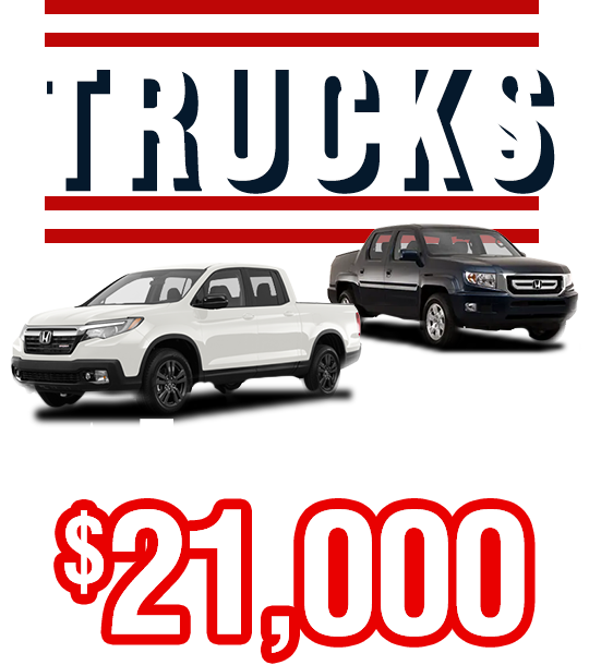 Trucks From Only $21,000