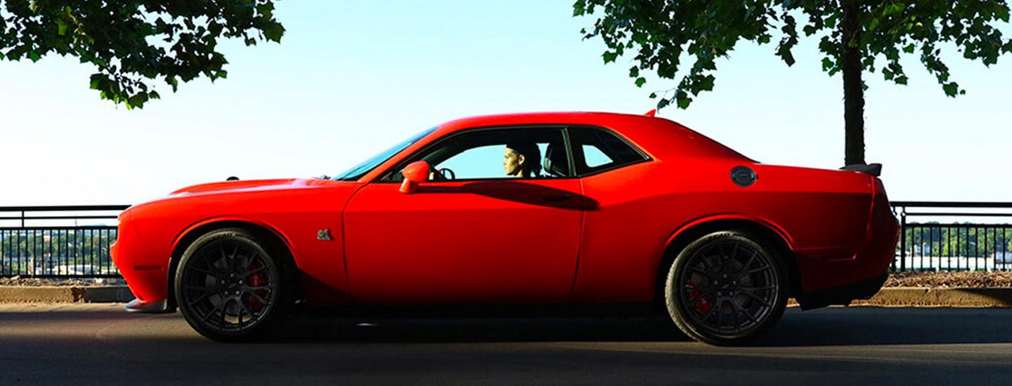 Side view of a red 2020 Dodge Challenger