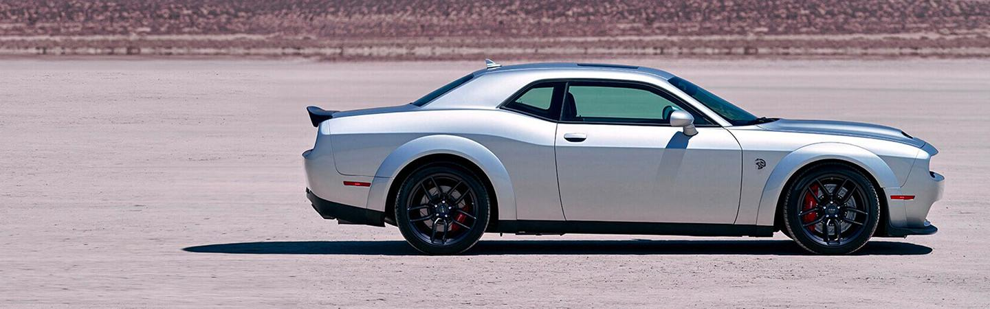 Side view of a silver 2020 Dodge Challenger