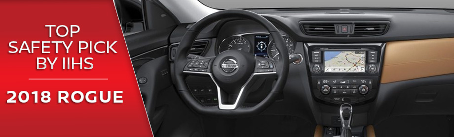 Safety features and interior of the 2018 Nissan Rogue - available at Rountree Moore  Nissan near Jacksonville and Gainesville, FL